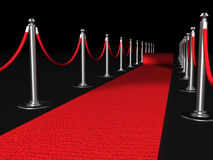 Red carpet night conept. With fence 3d illustration Royalty Free Stock Photos