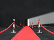 Red carpet with open door