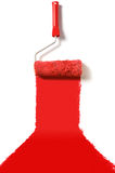 Red carpet paint roller. Carpet roller brush with red paint Royalty Free Stock Photos