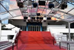 The red carpet of Palais des Festival de Cannes. royalty free stock photography