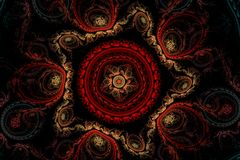 Red carpet with patterns. Fractal abstract pattern beige velvet star with five rays of red circular pattern inside and a star and a blue and red circular royalty free illustration