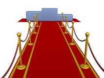 Red carpet and pedestal. Royalty Free Stock Photos