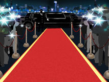 Red carpet, photographers, driver and a luxury car 1. Point of view of a vip walking on the red carpet Stock Photo