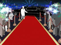 Red carpet, photographers, driver and a luxury car. Point of view of a vip walking on the red carpet Royalty Free Stock Photography