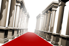 Red carpet and pillars. A long red luxury carpet with stylish roman pillars either side of it Royalty Free Stock Photo