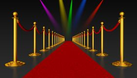Red carpet and pillars with red ropes. On the background of flashing lights. 3d render Royalty Free Stock Photo