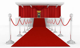 Red carpet podium and spot light under lectern. 3d high quality render Stock Photography