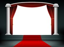 Red carpet on the podium with steps vector illustration