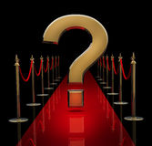Red carpet with a question sign. On black 3d render Royalty Free Stock Photos