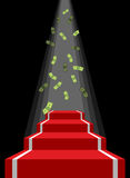 Red carpet and rain of money. Falling dollars for winner. Royalty Free Stock Images