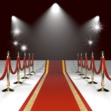 Red carpet with red ropes Stock Image
