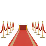 Red carpet with red ropes Stock Images