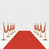 Red carpet with red ropes on golden stanchions Royalty Free Stock Images