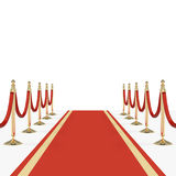 Red carpet with red ropes on golden stanchions Stock Photography