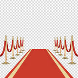 Red carpet with red ropes on golden stanchions Stock Photos