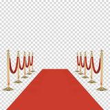 Red carpet with red ropes on golden stanchions Royalty Free Stock Photos