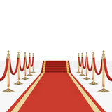 Red carpet with red ropes on golden stanchions Royalty Free Stock Photography