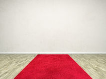 Red carpet room. A room with a red carpet and an empty white wall Royalty Free Stock Photo