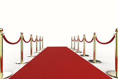 Red carpet with rope barrier. 3d rendering red carpet with rope barrier Royalty Free Stock Photography