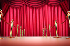 Red carpet and rope barrier with red curtain background. 3d rendering red carpet and rope barrier with red curtain background Stock Images