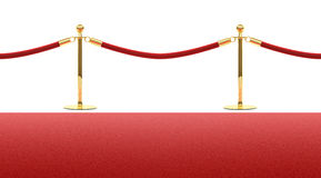 Red carpet rope barrier. Seamless template isolated on white background Stock Photo