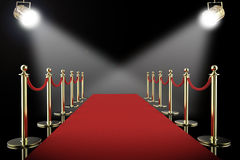 Red carpet and rope barrier with shining spotlights. 3d rendering red carpet and rope barrier with shining spotlights royalty free stock photos
