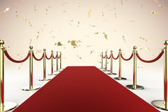 Red carpet and rope barrier with shiny gold glitter Royalty Free Stock Photos