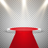 Red carpet and round podium with lights effect. Abstract background, vector Royalty Free Stock Photos