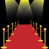 Red carpet. With spotlights on black background. EPS file available Stock Images