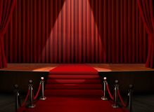 Red Carpet and Stage with Security Barrier Royalty Free Stock Photos