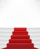 Red Carpet. And stair with white bright background bokeh. Celebrity enterance to stardom. Concept of success, achievement and privilege royalty free illustration