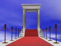 Red carpet staircase Stock Photo