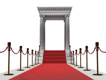 Red carpet staircase. Majestic red carpet staircase in antique style (3D rendering Royalty Free Stock Photo