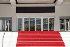 Red carpet staircase of The Grand Auditorium on July 05.2015. in Cannes, France royalty free stock image