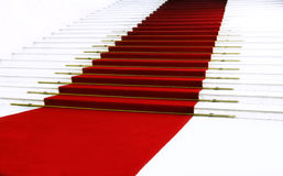 Red carpet on staircase. Red carpet on old staircase Stock Images