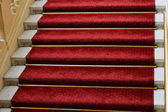 Red carpet on a staircases. With golden poles stock image