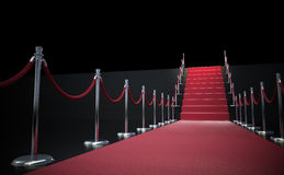 Red carpet and stairs. Red carpet leading up to stairs Stock Photo