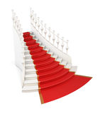 Red carpet on stairs. 3d. Royalty Free Stock Photography