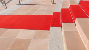 Red carpet official visit. Red carpet on the stairs of European Court of Human Rights in Strasbourg ready for official delegation and visits of high ranked