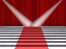 Red carpet on the stairs, lit by two spotlights on a background of red curtains. 3D illustration vector illustration