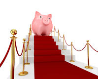 Red carpet on a stairs and piggy bank. vector illustration