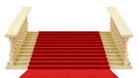 Red carpet on stairs Stock Images