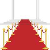 Red carpet. With stairway and columns on white background. EPS file available stock illustration