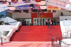 Red Carpet Stairway At Palais Des Festivals Et Des Congres In Cannes. Cannes, France - May 14, 2019: Red Carpet Stairway At Palais Des Festivals Et Des Congres royalty free stock photos