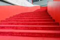 Red carpet stairway Stock Photos