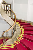 Red carpet. Stairwell in the Polish palace. Royal castle in Warsaw. stock image