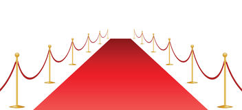 Red carpet and stantion Stock Images
