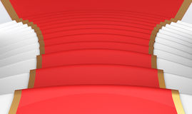 Red carpet on the steps close up. 3d. Royalty Free Stock Photo