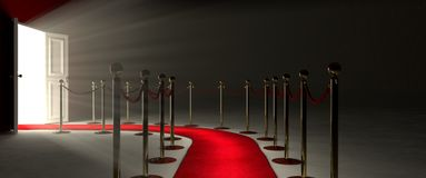 Red Carpet for the success. Pathway for triumph is a path delimited by an illuminated red carpet, red velvet rope  barrier and golden supports. The footpath Royalty Free Stock Photos