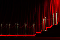 Red carpet for success. Staircase for fame on red curtain background Stock Photos